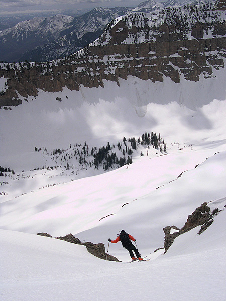 Looking south, Pat Ormand negotiates one of the lower chutes on the East Ridge of Timpanogos