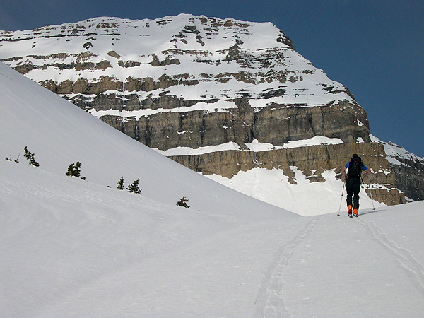 Summit of Mount Timpanogos as Pat skins toward Emerlad Lake